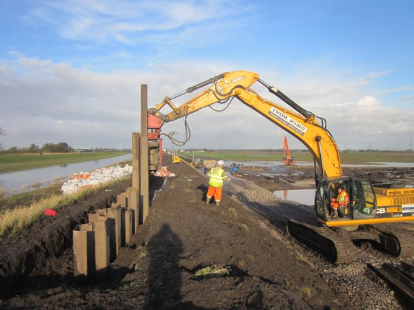 flood defence being built