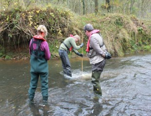 Environment Agency staff collecting water quality samples in Staffordshire