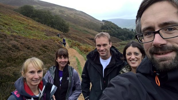 Data team looking for sphagnum moss in Edale