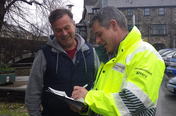 Environment agency officer and resident