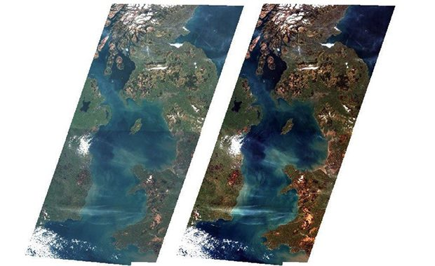 Sentinel-2 images before (left) and after (right) processing to normalise the effects of atmospheric aberration
