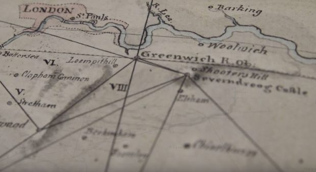 This 1790 OS-proto-map shows Major General William Roy's work with Greenwich and Paris Observatories to improve latitude and longitude records