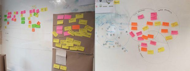Photos of sticky notes created during GDS Academy sessions