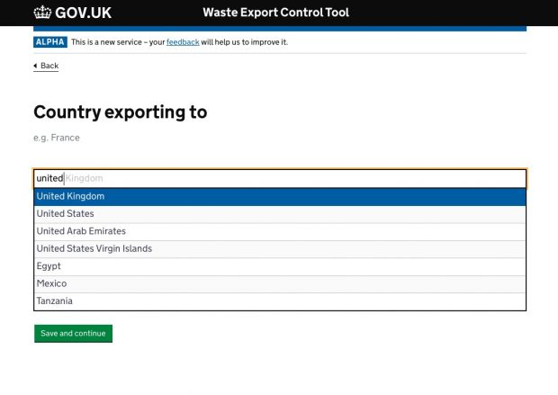 Waste export controls tool alpha