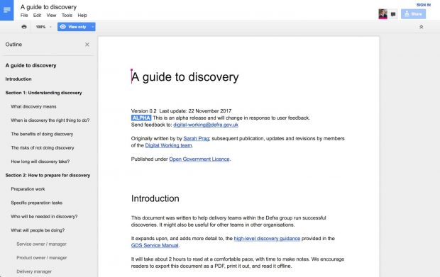 Screenshot of the guide to discovery
