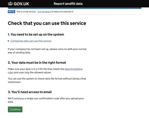 Screenshot of the report landfill data service
