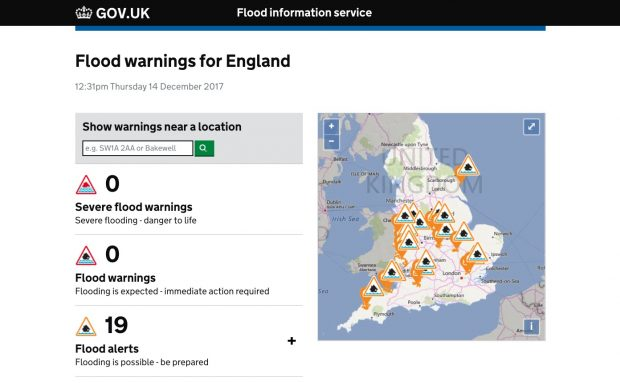 Flood warnings for England map