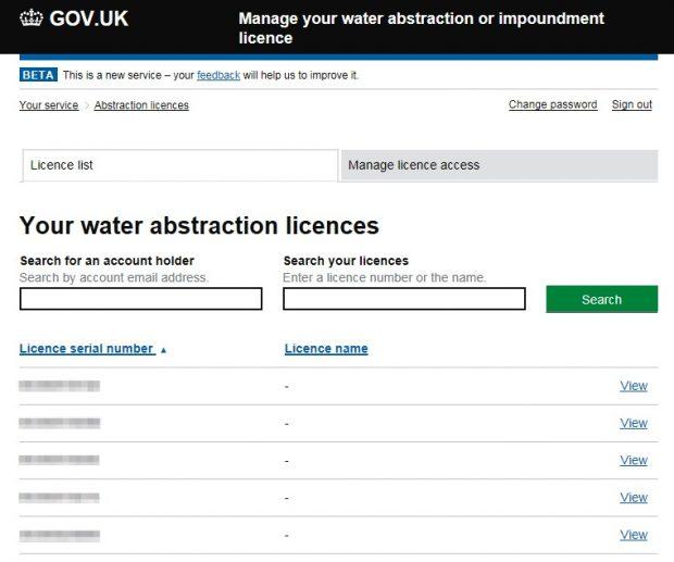 Screenshot of water abstraction beta
