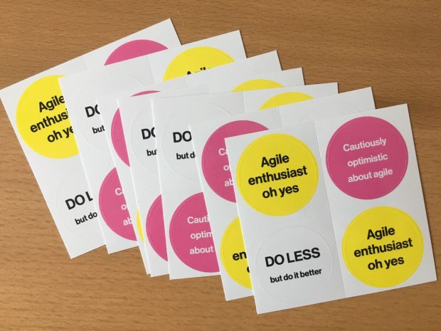 "Some of our ""agile enthusiasts"" stickers"