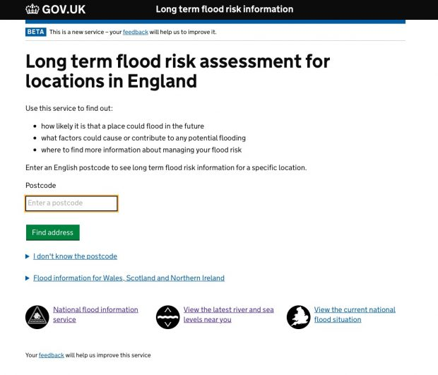 An earlier version of the long term flood risk information page