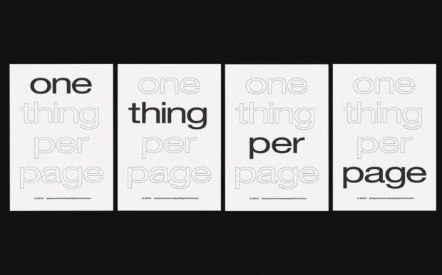 "A set of posters that say ""One thing per page"""