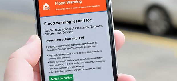 Flood alert on mobile phone
