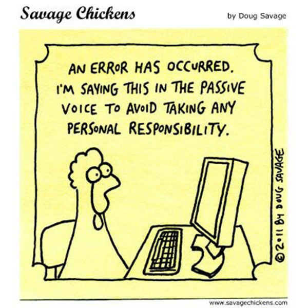 Chicken with PC saying an error has occurred I'm saying this in the passove voice to avoid taking any personal responsibility