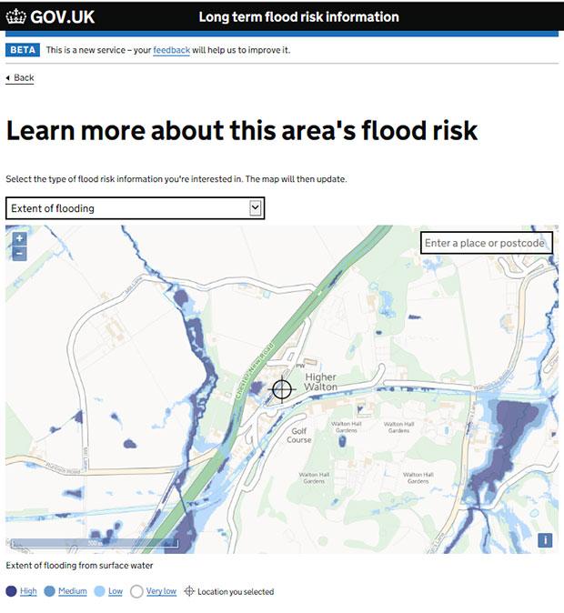 Higher Walton flood map