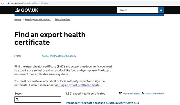 Find an export health certificate screenshot
