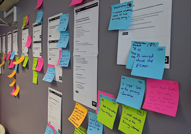 Post it board from user research
