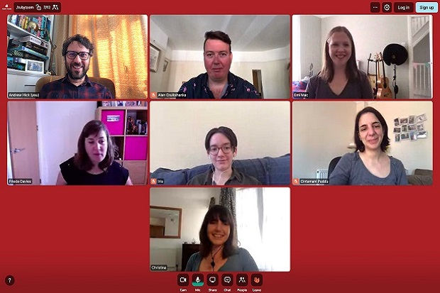 Ruby team members on video call